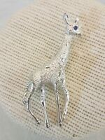 Vintage Giraffe Pin Signed Gerry's Blue Rhinestone Silver Tone