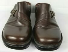 657ca964e Clarks Brown Leather sz 11M Mules Slide On Comfort Buckle VGC Work Casual