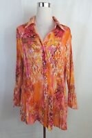 Cato Womens Plus Size 22/24 2X Dressy Blouse Crinkle Stretch Bell sleeve