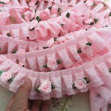 1M Pink Rose Flower Ruffle Lace Trim Chiffon Pleated Ribbon Crafts 5cm Width