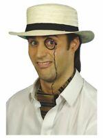 Men's St Trinian Straw Boater Hat School Boy's Summer Costume Fancy Dress Stag