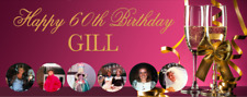 Birthday Party Banner 18th/21st/30th/40th/50th/60th Pink Champagne