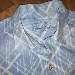 Mens Large TOMMY BAHAMA Dress Shirt 100% LINEN Long Sleeve RELAX Button Blue L