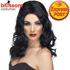 W524 Black Glamorous Long Wavy Celebrity Hollywood Pop Star Costume Wig Hair