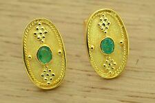 Byzantine Green Emerald Earrings Etruscan Style 925 Sterling Silver GREEK ART
