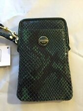 New with tags Coach Green Leather I Phone 4 5 Wallet Wristlet