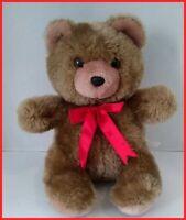 "vtg Prestige Teddy Bear Red Satin Bow Plush Light Brown 11"" Stuffed Christmas"