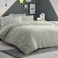 TEXTURED STARS SILVER GREY WHITE 100% COTTON DOUBLE DUVET COVER