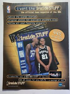 2000 NBA Inside Stuff Kevin Garnett Tim Duncan Magazine Ad  Print ad NM