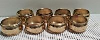 """8 Vintage Hammered Brass NAPKIN RINGS 1 3/4"""" Across Round Domed 1"""" Wide Patina"""
