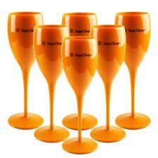 6x Veuve Clicquot Champagnerglas Becher Flute orange Acryl Glas Set Gläser