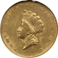 1855 Type 2 Liberty Head $1 Gold, NGC MS61. Brilliant Uncirculated
