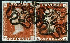 """1841 PENNY RED SG8 NICE 4 MARGIN PAIR WITH """"NUMBER 2"""" IN MALTESE CROSS CANCELS"""