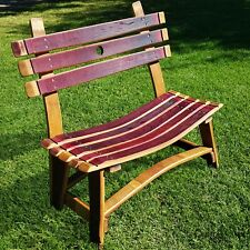 WINE BARREL Small Garden Bench Rustic Furniture Home Decor Patio Bar Bistro Napa