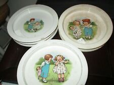 Lot of 3 Vintage Round Baby Plate Bowls Campbell Soup Kids Buffalo Pottery 1920s