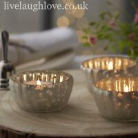 Luxury White Glass Tea Light Holders Wedding Table Decorations - 3.5cm x 7cm