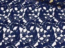"""Stunning Navy Guipure Embroidery Lace Fabric 39"""" Wide for Bridal Dress 0.5 Yard"""