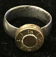 1918 WW1 Trench Art Silver Coin Bullet Ring 10