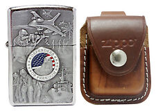 Zippo Lighter 24457 Joined Forces Street Chrome + LPLB Brown Pouch Clip