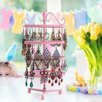144 Holes Earrings Holder Rack Fashion 4 Tiers Metal Round Stand Jewelry Rack