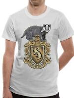 Harry Potter Hufflepuff Crest Distressed Hogwarts Logo White Mens T-shirt