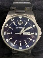 Fossil AM4145 Men's Watch Stainless Steel Analog 45mm Case Blue Dial Quartz O889