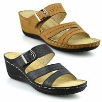 Ladies Womens New Mid Wedge Heel Casual Summer Slip On Mules Sandals Shoes Size