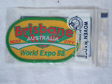 VINTAGE BRISBANE WORLD EXPO 88 EMBROIDERED SOUVENIR PATCH WOVEN CLOTH BADGE