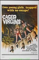 CAGED VIRGINS MOVIE POSTER Rare !! Folded 28x42 HORROR ! SEXPLOITATION 1973 Film