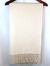"Restoration Hardware Cashmere WHITE Ivory Throw Blanket 50"" x 70"" NWT"