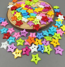 100pcs Star Button Mixed Colors Sewing Scrapbooking Resin Buttons 2 Holes 12.5mm