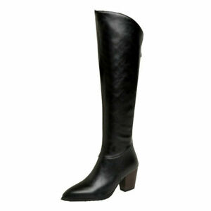 Ladies Pointy Toe Boots Block Heel Casual Riding Knight Knee High Calf Boots Sz