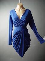 Royal Blue Wrap Drape Gathered Goddess Evening Cocktail 104 mv Dress 1XL 2XL 3XL