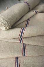 Grain sack grainsack fabric vintage linen 9.2Yd upholstery Hemp Red + Blue blue