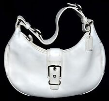 Coach 7548 Hampton White Thick Leather Hobo Bag with Buckle & Adjustable Strap