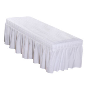 180x60cm Massage Cosmetic Table Valance Sheet Couch Bedding Cover w/ Hole White