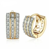 18K Yellow Gold Plated 3 Row Pave Huggie Earrings with Cubic Zirconia Crystals