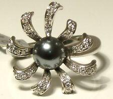FINE 18CT WHITE GOLD GREY BLACK PEARL & DIAMOND COCKTAIL DRESS RING WT 5.0g