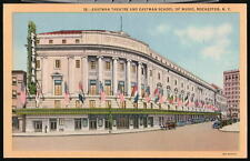 ROCHESTER NY Eastman Theatre Flags Vtg 1940's Postcard