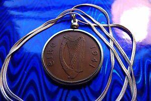 "1941 IRISH Harp, IRELAND Rare COIN Pendant on a 30"" .925 Silver Snake Chain."