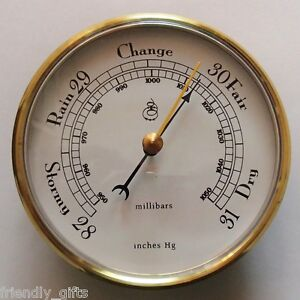 100mm Gold Barometer Plastic Face White Dial Fit-up/Insert, Weather Instruments