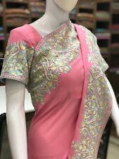 Indian Crepe Aari Embroidered Kashmiri Saree, Women Indian Ethnic, Girls Sarees