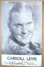 Film Star Postcard- CARROLL LEVIS with Hand Sign/ Autograph (Org*)