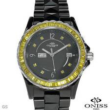 ONISS LADIES BLACK CERAMIC YELLOW CRYSTALS QUARTZ WATCH MODEL on620-yl, SALE!