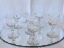Série de 6 verres vin Porto anciens XIXème tulipe petites cotes jambe balustre