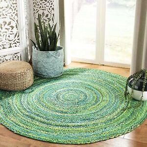 Rug 100% Cotton handmade rustic look area carpet reversible home decor rag rug