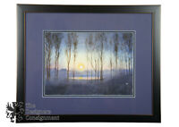 Watercolor Sunrise Painting Landscape Impressionist Signed NC Forest Lake House