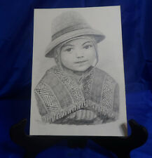Vtg ORIGINAL Hand Drawn Picture in Pencil of Central American Child - Signed