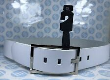 """Ladies And Men's Genuine Leather Belt White Colour XL 42mm WideX119 Long 39""""-43"""""""