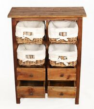 Meuble Tiroirs Bois Paniers Osier Commode Style Rustique Vintage Marron Retro